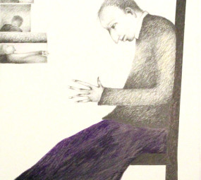 Man in Chair with Purple Skirt