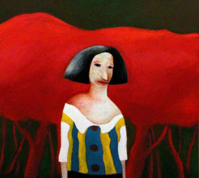 Woman and Red Trees_walter piepke